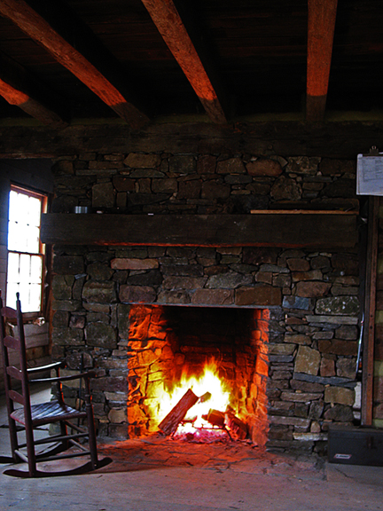 rock chimney and fire place